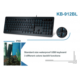 New!  KB-912BL Full Size Washable Keyboard with Backlit Function
